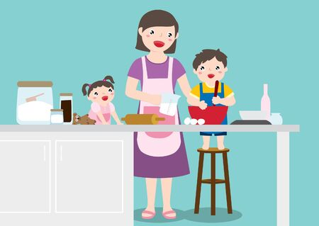 Drawing Of A Happy Family, Mother, Son And Daughter Enjoy Baking Together In The Kitchen At Home. Vector Flat Cartoon Illustration.