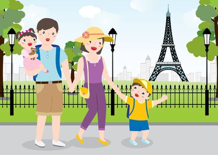 Drawing Of A Happy Family Enjoy Traveling Together In Paris. Vector Flat Cartoon Illustration.