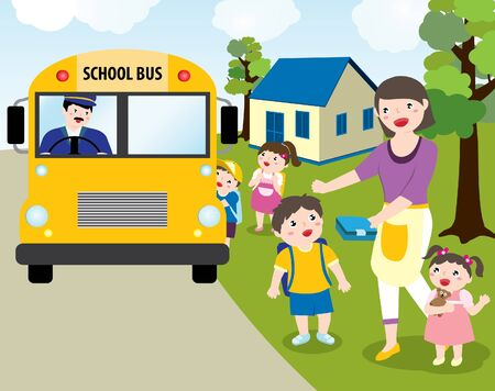 Children Going To School With School Bus. Mom Handing Over His Son's Lunch Box. Vector Flat Cartoon Illustration.  イラスト・ベクター素材