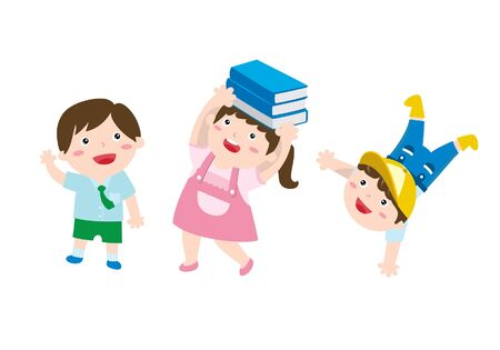 A Set Of Cute Drawing Of A Happy Children Having A Fun Time To Learn And Play. Preschool Education Concept. Flat Cartoon  イラスト・ベクター素材