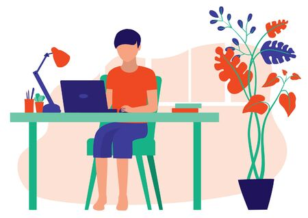 Children Studying At Home. A Boy Using His Laptop Computer To Do His Homework. Homeschool, E-Learning And Online Education Concept. Vector Flat Cartoon Illustration.  イラスト・ベクター素材