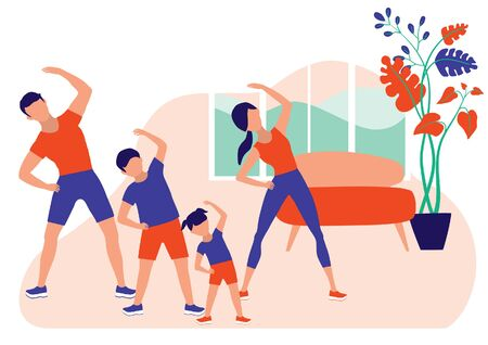 Family Spending Time Doing Morning Exercise Together At Home. Healthy Lifestyle Indoor Fitness. Vector Flat Cartoon Illustration.Dad, Mom, Son And Daughter Doing Stretching Workout.