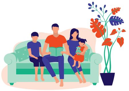 Family Reading Book Together At Home. Dad, Mom, Son And Daughter Sitting On The Sofa. Family Moments And Home Education Concept. Vector Flat Cartoon Illustration.