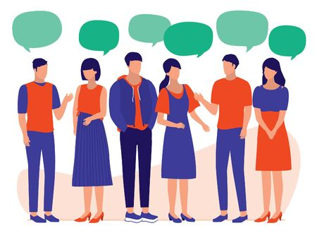 Group Of People With Speech Bubbles. Young Men And Women Talking And Listening To One Another. Social Media, Communication And Business Networking Concept. Vector Flat Cartoon Illustration.