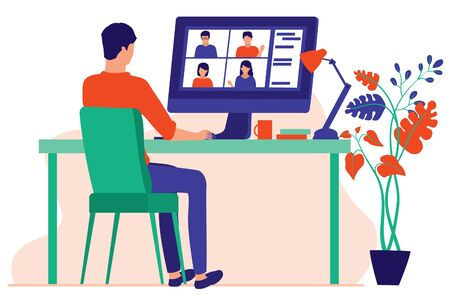 Man Working At Home Or Office. Employees Working Over A Video Conference. Man Chatting With Friends Online. Webinars And Online Virtual Meeting Concept. Vector Flat Cartoon Illustration.