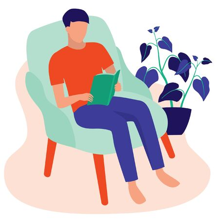 Man Reading Book At Home. Young Adult Sitting On Sofa Relaxing. Self-care And Finding Quiet Spaces At Home Concept. Vector Flat Cartoon Illustration.