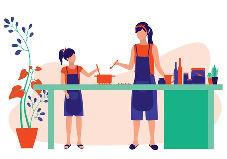 Mother And Daughter Cooking. Young Parent teaching Kids How To Cook. Family Moments And Parenting Concept. Vector Flat Cartoon Illustration.