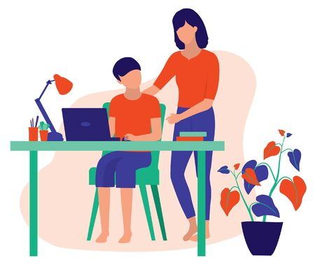 Homeschooling. Mom Teaching Her Son Doing His Homework. Online Family Education At Home And Parenting Concept. Vector Flat Cartoon Illustration.