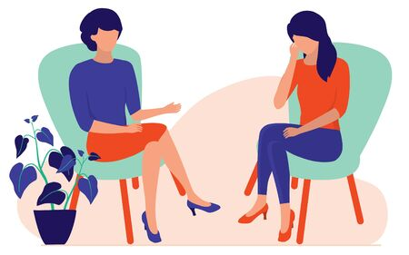 Woman Talking To A Psychotherapist Or Psychologist. Marriage Counseling And Stress Therapy Sessions Concept. Vector Flat Cartoon Illustration. Illustration