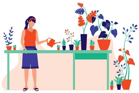 Young Women Watering Plants At The Greenhouse Or Home Garden. Gardening And Planting Concept. Vector Flat Cartoon Illustration.