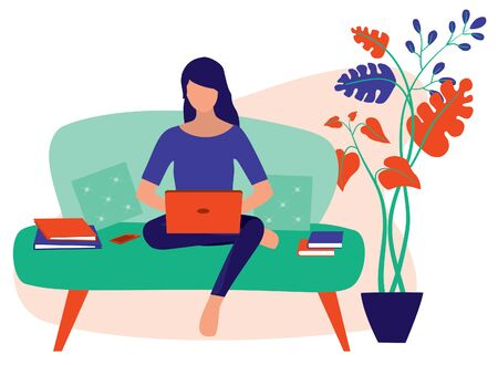 Young Women Working At Home. Lady Employees Sitting On The Sofa While Using On Her Laptop. Remote Working And Freelancing Concept. Vector Flat Cartoon Illustration.  イラスト・ベクター素材