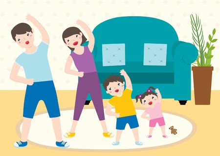 Cute Happy Family Spending Time Doing Morning Exercise Together At Home. Healthy Lifestyle Indoor Fitness.