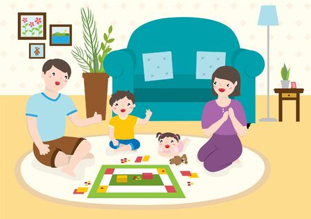 Happy Family Playing Board Games Together At Home During Weekend.  イラスト・ベクター素材