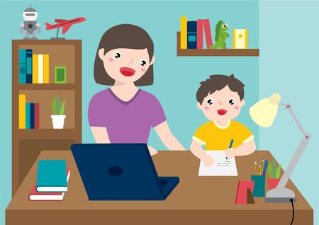 Homeschooling. Mom Teaching Her Son Doing Homework. Online Family Education At Home.