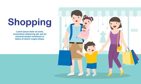 Happy Family Enjoy Shopping Together At The Shopping Mall. Family Lifestyles And Marketing Concept.  イラスト・ベクター素材