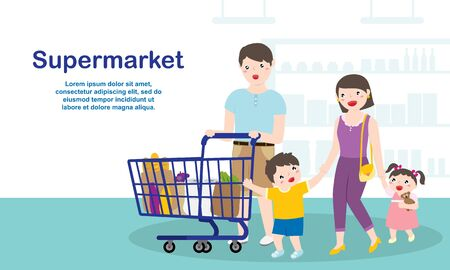 Happy Family Doing Grocery Shopping At The Supermarket. Family Lifestyles And Marketing Concept. Vector Illustratie