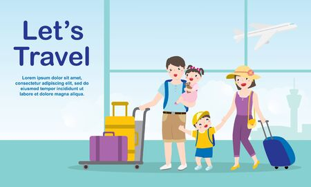 Happy Family On Holiday Arriving At The Airport. Travel And Tourism Concept.