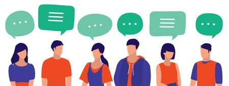 People With Speech Bubbles. Young Men And Women Communicate With One Another. Social Media, Communication And Business Networking Concept.