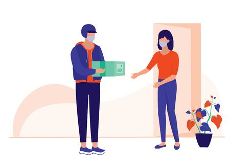 Woman Receiving A Package From A Delivery Man. Social Distancing And COVID-19 Coronavirus Outbreak Prevention Concept.  イラスト・ベクター素材
