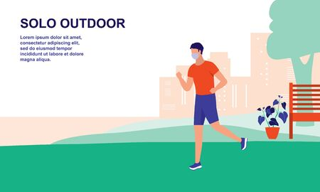 A Young Man Exercise Alone At The Park. New Normal For Outdoor Activities, Sports And Healthy Lifestyles, Effect Of COVID-19 Coronavirus Outbreak Concept.  イラスト・ベクター素材