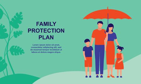 Family Protection Plan. Business And Insurance Concept. Vector Flat Cartoon Illustration.