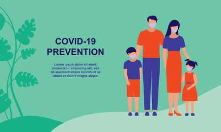 Social Distancing And Coronavirus Prevention. Family With 2 Children. COVID-19 Coronavirus Outbreak Prevention Concept.  イラスト・ベクター素材