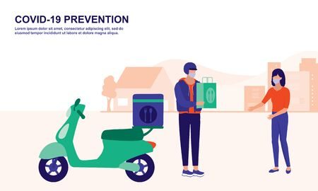 Online Food Delivery From Home. Social Distancing And COVID-19 Coronavirus Outbreak Prevention Concept.