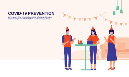 Small Group Of People Celebrating Birthday Party. Social Distancing And COVID-19 Coronavirus Outbreak Prevention Concept. Vektorgrafik