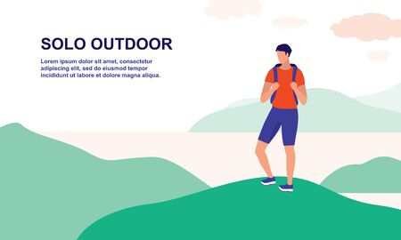 Young Man With Backpack Hiking Alone On A Mountains. Outdoor Activities, Healthy Lifestyles And Travelling Concept. Vector Flat Cartoon Illustration.