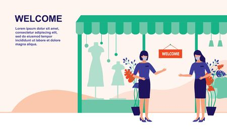 Store And Shop Is Reopening For Business After The Post-Coronavirus Pandemic. New Normal For Business, Effect Of COVID-19 Coronavirus Outbreak Concept.