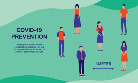 Social Distancing And Coronavirus Prevention. Group Of People, Males And Females Stay 1 Meter Away From Each Others. COVID-19 Coronavirus Outbreak Prevention Concept.  イラスト・ベクター素材