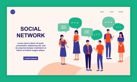 Group Of Young People Having Discussion Together. Communication And Social Networks Concept. Vector Flat Cartoon Illustration.
