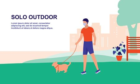 A Man Exercise Or Walking Alone With His Dog At The Park. New Normal For Outdoor Activities, Sports And Healthy Lifestyles, Effect Of COVID-19 Coronavirus Outbreak Concept.