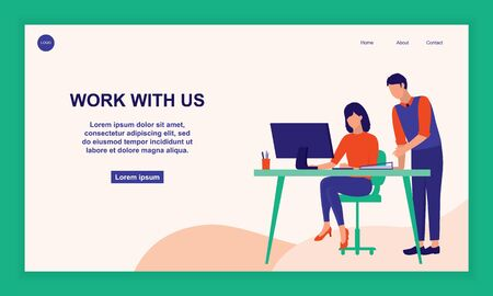 Two Office Workers Working At Office. Business And Hiring Concept. Vector Flat Cartoon Illustration.
