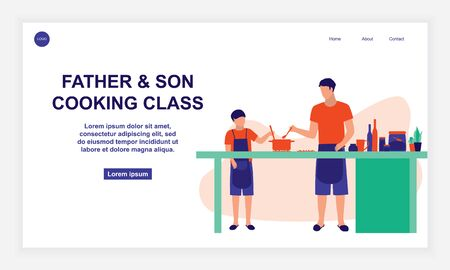 Father And Son Cooking. Young Parent teaching Kids How To Cook  イラスト・ベクター素材