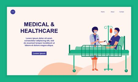 Doctor Visiting Patient Lying In Hospital Bed. Hospitalization, Healthcare And Medical Concept. Vector Flat Cartoon Illustration.