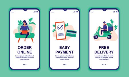 Online Shopping Mobile App. Order Online, Easy Payment And Free Delivery Concept. Vector Flat Cartoon Illustration.