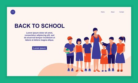 Teacher And A Groups Of Students Stand In Row. Back To School, Teacher Day And Education Concept. Vector Flat Cartoon Illustration.
