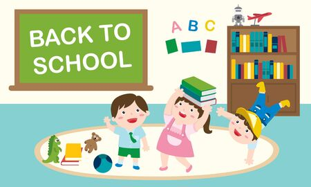 Happy Children Having Fun Time At The School. Back To School And Education Concept.  イラスト・ベクター素材