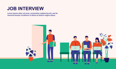Business People Waiting For Job Interview. Business, Human Resources And Recruitment Jobs Concept. Vector Flat Cartoon Illustration.