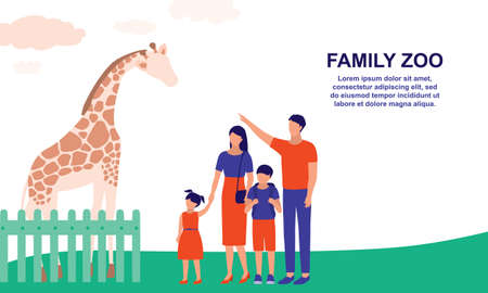 Family Visiting Zoo. Tourism And Zoo Concept. Vector Flat Cartoon Illustration.