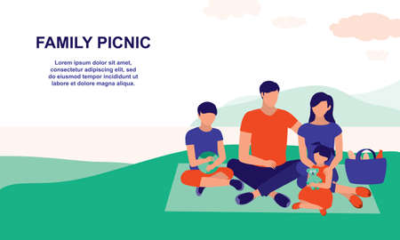 Family Picnic At The Park. Tourism, Recreation And Picnic Concept. Vector Flat Cartoon Illustration.