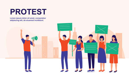 Group Of Protesting People Holding Banners Or Placards. Political, Social Activity And Protesting Concept. Vector Flat Cartoon Illustration.  イラスト・ベクター素材