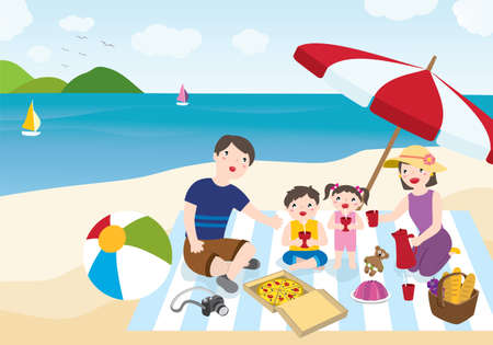 Happy Family Spending Summer Vacation At The Beach. Family Outdoor Activities Concept. Vector Flat Cartoon Illustration.