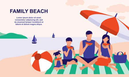 Family Spending Summer Vacation At The Beach. Family Outdoor Activities Concept. Vector Flat Cartoon Illustration.