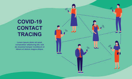 Covid-19 Contact Tracing. Covid-19 Coronavirus Outbreak Prevention Concept. Vector Flat Cartoon Illustration.