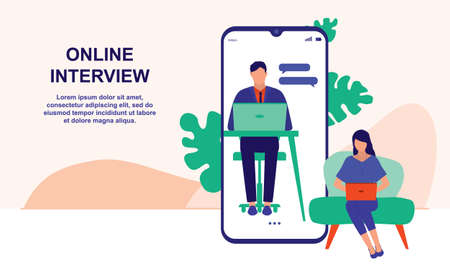 Online Job Interview. Business, Human Resources And Recruitment Jobs Concept. Vector Flat Cartoon Illustration.
