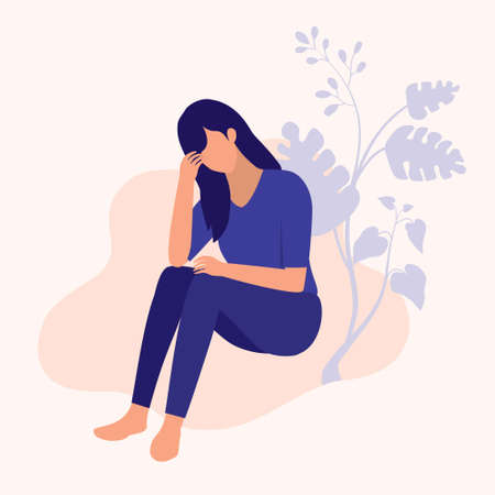 Woman Suffer From Depression. Mental Health And Social Issues Concept. Vector Flat Cartoon Illustration.  イラスト・ベクター素材