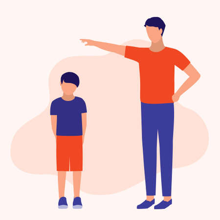 Father Scolding His Son. Parenting, Education And Social Issues Concept. Vector Flat Cartoon Illustration.