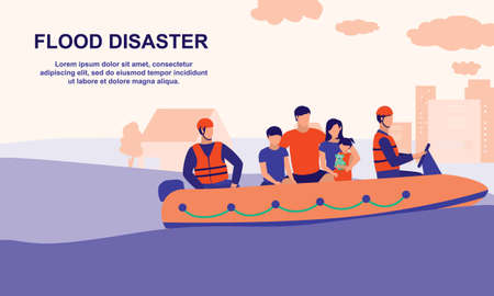 Flood Rescue Teams Helping Family And Children Out Of Floods. Flood And Natural Disaster Concept. Vector Flat Cartoon Illustration.